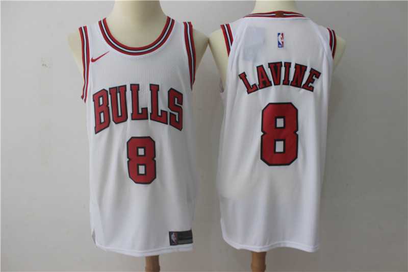 Men Chicago Bulls 8 Zach LaVine White Game Nike NBA Jerseys