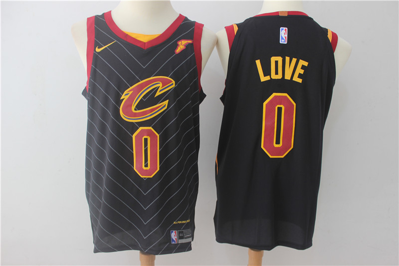 Men Cleveland Cavaliers 0 Love Black Game Nike NBA Jerseys