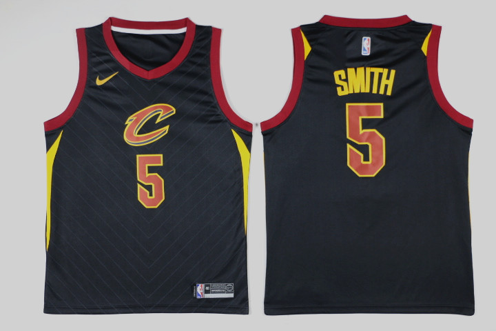 Men Cleveland Cavaliers 5 Smith Black Game Nike NBA Jerseys