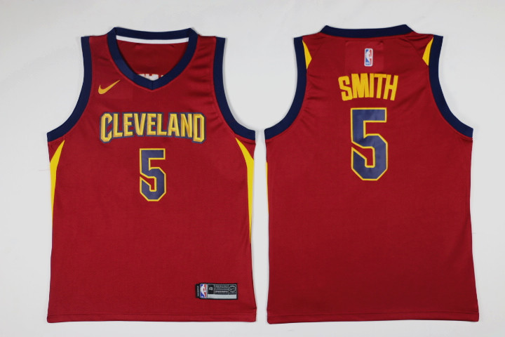 Men Cleveland Cavaliers 5 Smith Red Game Nike NBA Jerseys