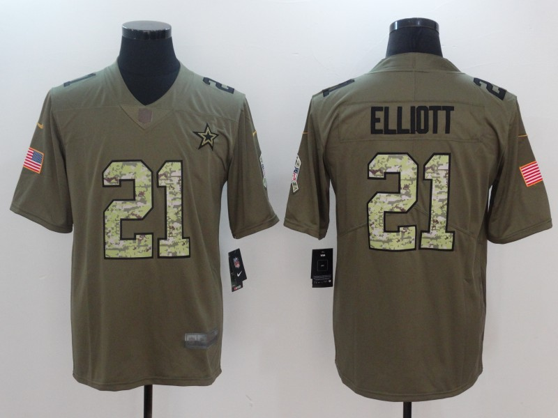 Men Dallas Cowboys 21 Elliott Camo Nike Olive Salute To Service Limited NFL Jerseys