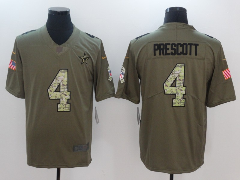 Men Dallas Cowboys 4 Prescott Camo Nike Olive Salute To Service Limited NFL Jerseys