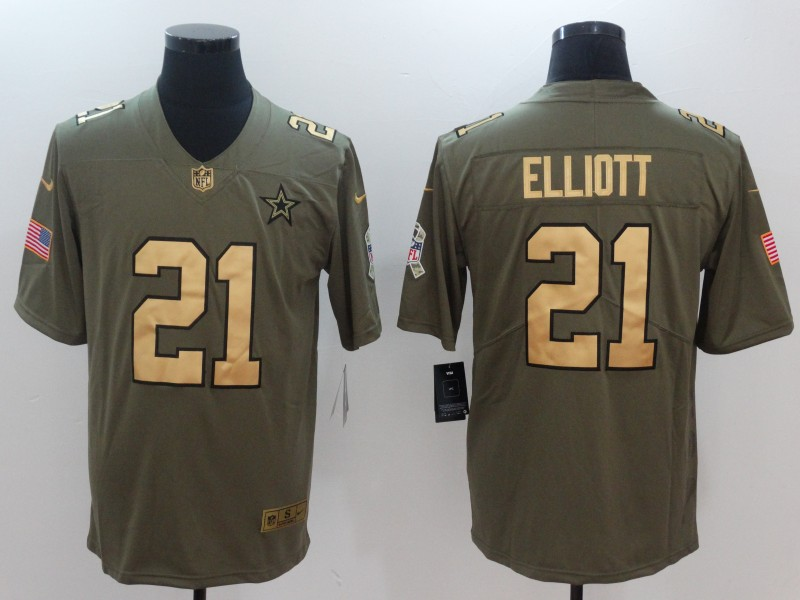 Men Dallas cowboys 21 Elliott Gold Anthracite Salute To Service Nike NFL Limited Jersey