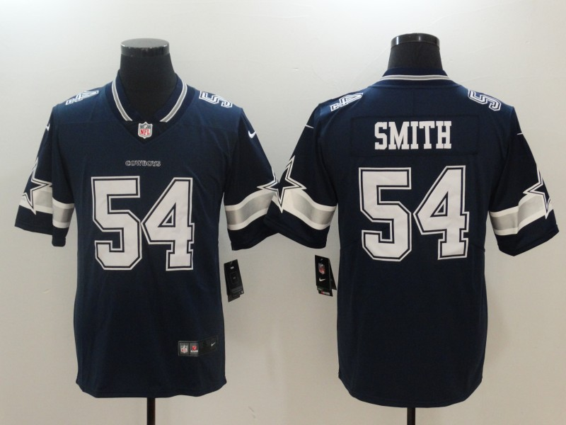 Men Dallas cowboys 54 Smith Blue Nike Vapor Untouchable Limited NFL Jerseys