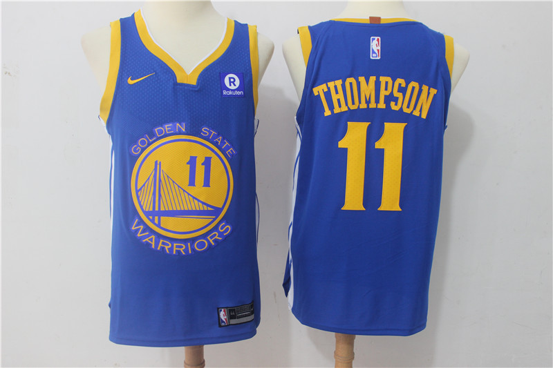 Men Golden State Warriors 11 Thompson Blue Game Nike NBA Jerseys