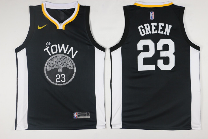 Men Golden State Warriors 23 Green Black Game Nike NBA Jerseys