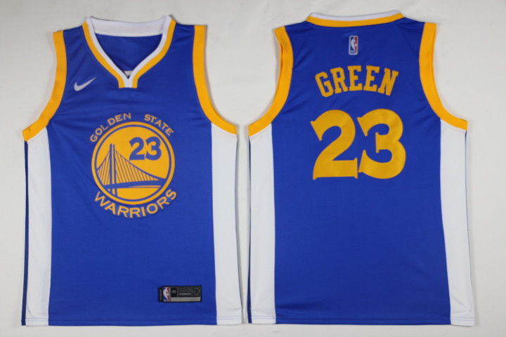 Men Golden State Warriors 23 Green Blue Game Nike NBA Jerseys