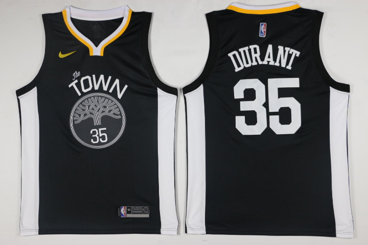 Men Golden State Warriors 35 Durant Black Game Nike NBA Jerseys