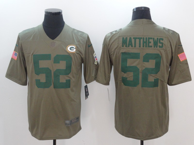 Men Green Bay Packers 52 Matthews Nike Olive Salute To Service Limited NFL Jerseys