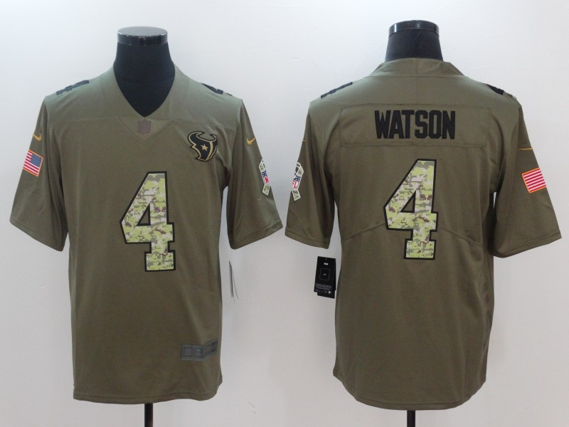 Men Houston Texans 4 Watson Camo Nike Olive Salute To Service Limited NFL Jerseys