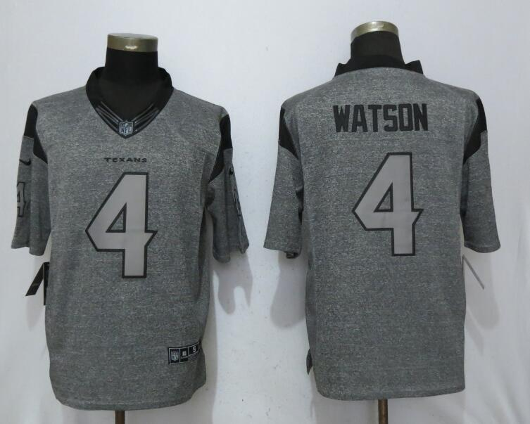 Men Houston Texans 4 Watson Gray New Nike Stitched Gridiron Gray NFL Limited Jersey
