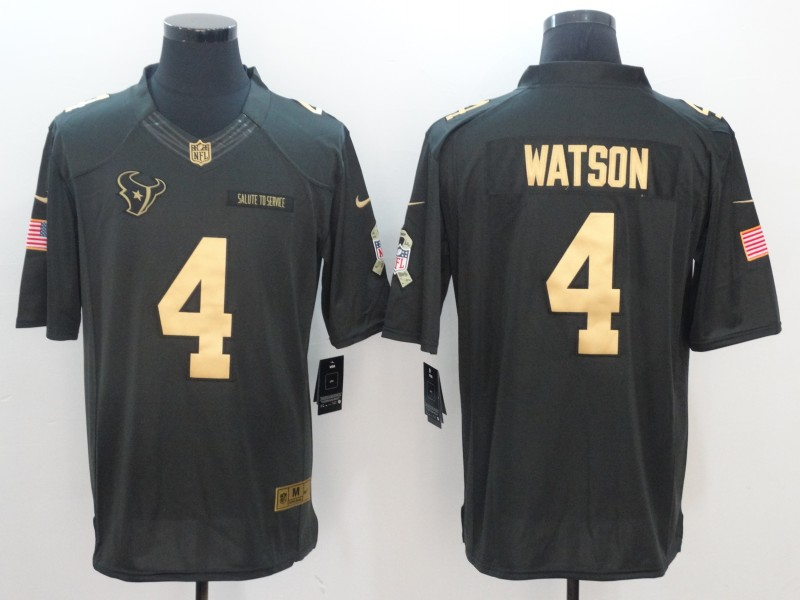 Men Houston Texans 4 Watson Green Nike Anthracite Salute To Service Limited Jersey1