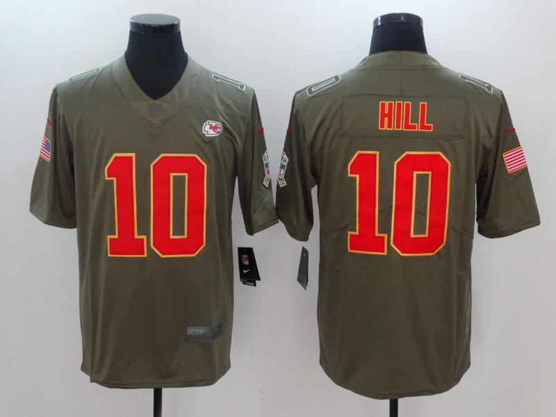 Men Kansas City Chiefs 10 Hill Nike Olive Salute To Service Limited NFL Jerseys