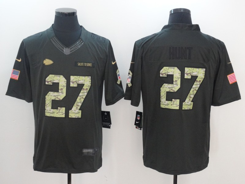 Men Kansas City Chiefs 27 Hunt Green Nike Anthracite Salute To Service Limited Jersey