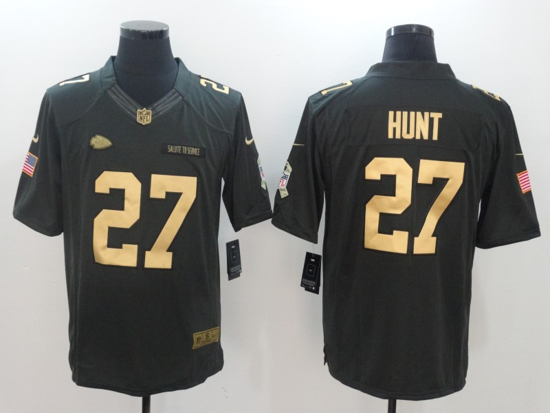 Men Kansas City Chiefs 27 Hunt Green Nike Olive Salute To Service Limited NFL Jerseys