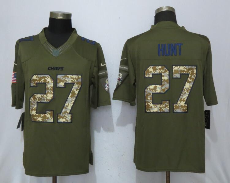 Men Kansas City Chiefs 27 Hunt Salute To Service New Nike NFL Limited Jersey