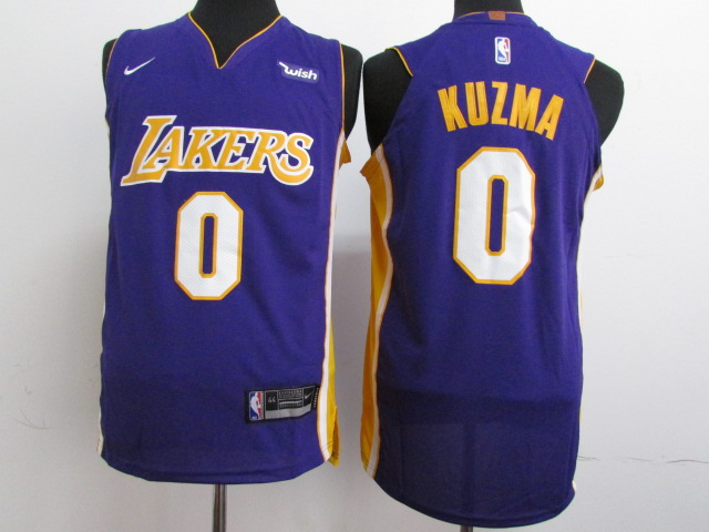 Men Los Angeles Lakers 0 Kuzma Purple Game Nike NBA Jerseys