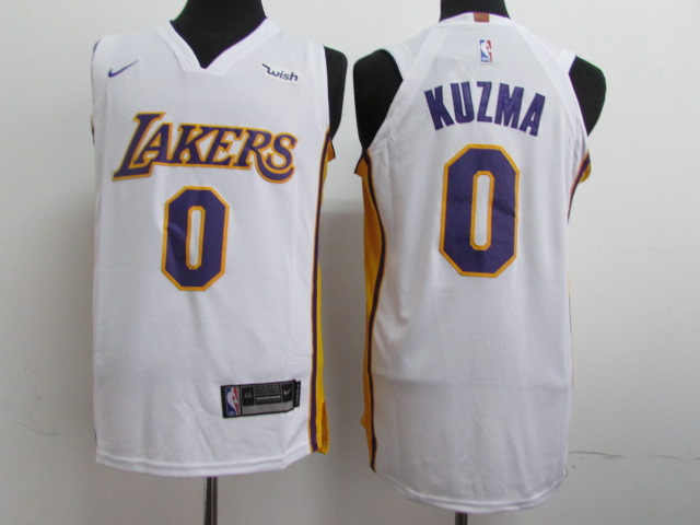 Men Los Angeles Lakers 0 Kuzma White Game Nike NBA Jerseys