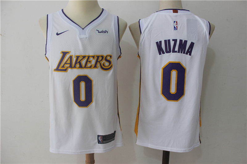 Men Los Angeles Lakers 0 Kuzma White NBA Jerseys