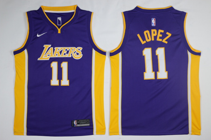 Men Los Angeles Lakers 11 Lopez Purple Game Nike NBA Jerseys