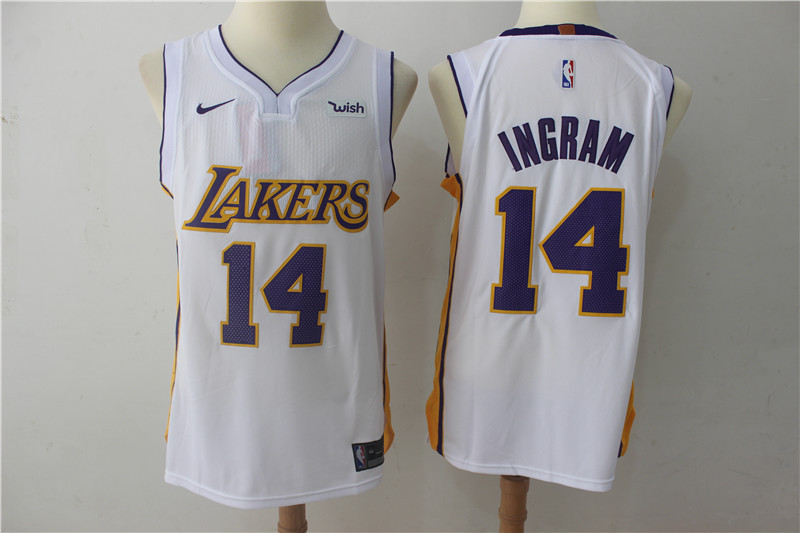 Men Los Angeles Lakers 14 Ingram White Game Nike NBA Jerseys