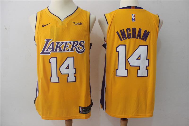 Men Los Angeles Lakers 14 Ingram Yellow Game Nike NBA Jerseys