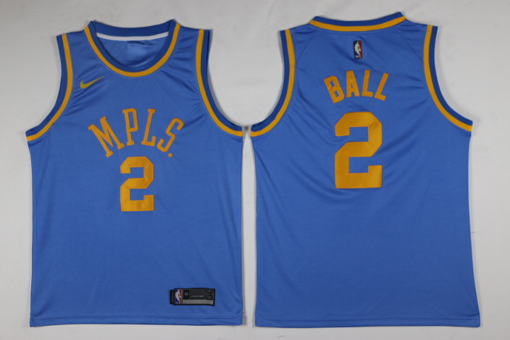 Men Los Angeles Lakers 2 Ball Blue Game Nike NBA Jerseys