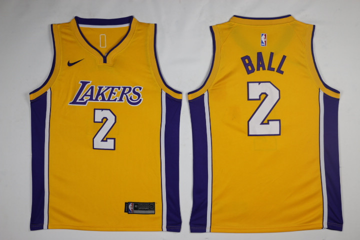 Men Los Angeles Lakers 2 Ball Yellow Game Nike NBA Jerseys