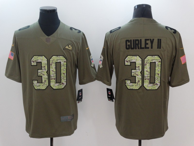Men Los Angeles Rams 30 Gurley ii Camo Nike Olive Salute To Service Limited NFL Jerseys