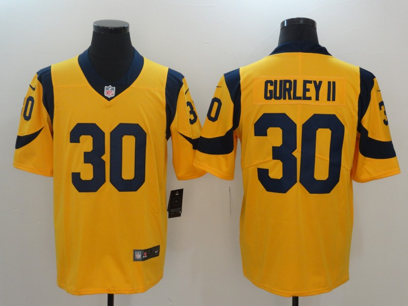 Men Los Angeles Rams 30 Gurley ii Yellow Nike Vapor Untouchable Limited NFL Jerseys