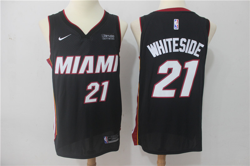Men Miami Heat 21 Whiteside Black Game Nike NBA Jerseys