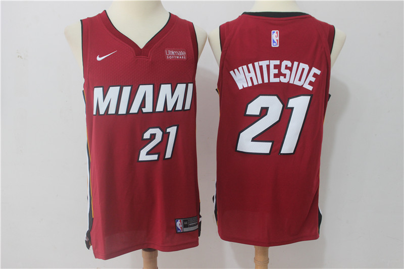 Men Miami Heat 21 Whiteside Red Game Nike NBA Jerseys