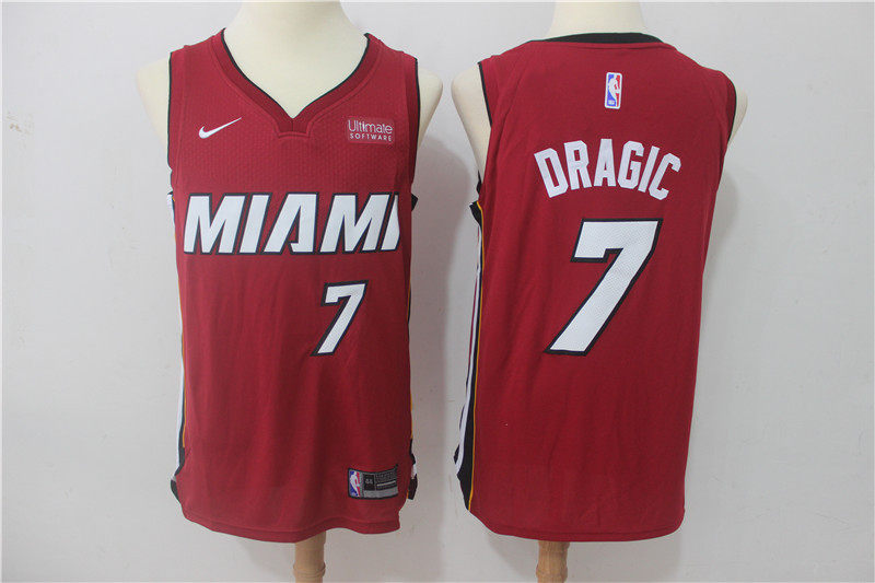 Men Miami Heat 7 Dragic Red Game Nike NBA Jerseys