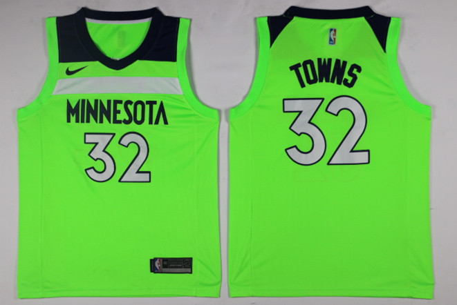 Men Minnesota Timberwolves 32 Towns Green Game Nike NBA Jerseys