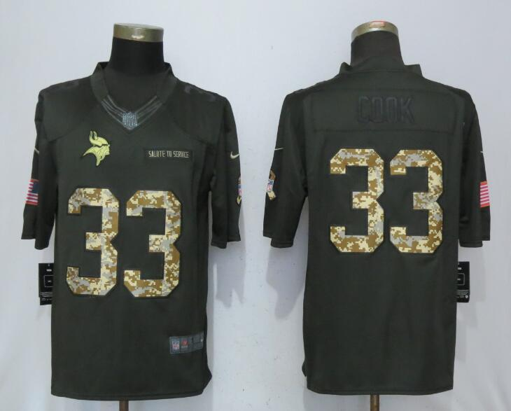 Men Minnesota Vikings 33 C00k Green Nike Anthracite Salute To Service Limited Jersey