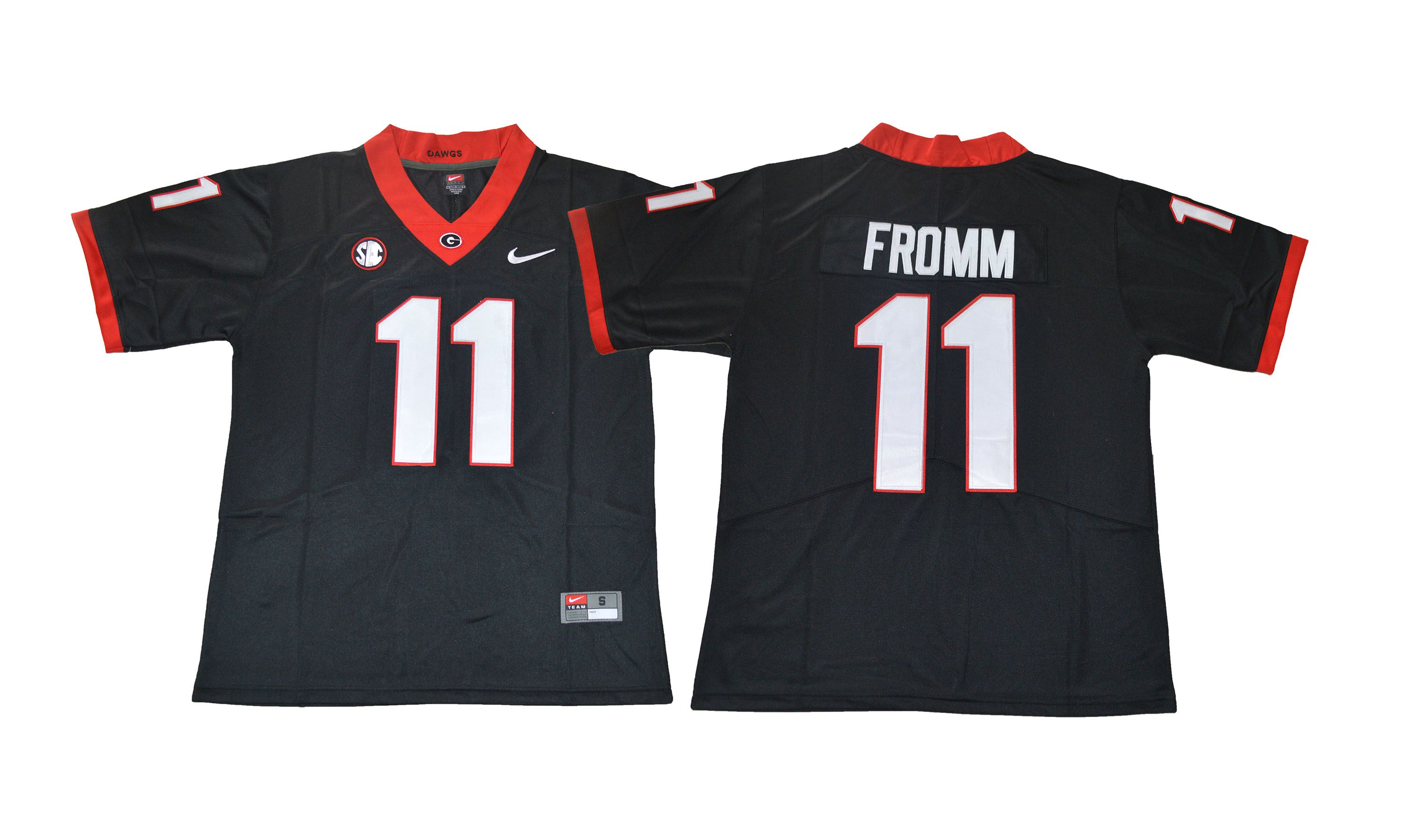Men NCAA 2017 Georgia Bulldogs 11 Fromm black jersey