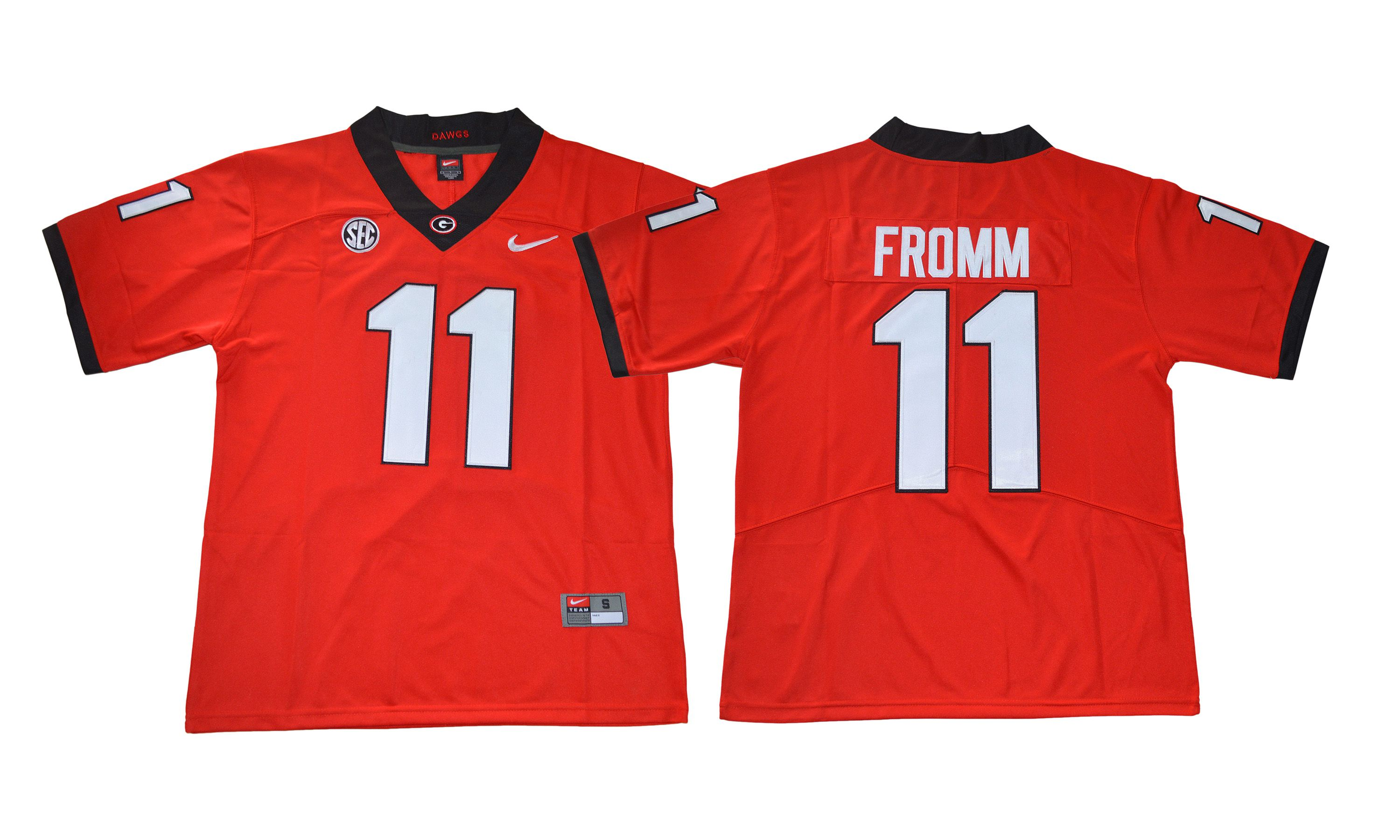 Men NCAA 2017 Georgia Bulldogs 11 Jake Fromm red Jersey