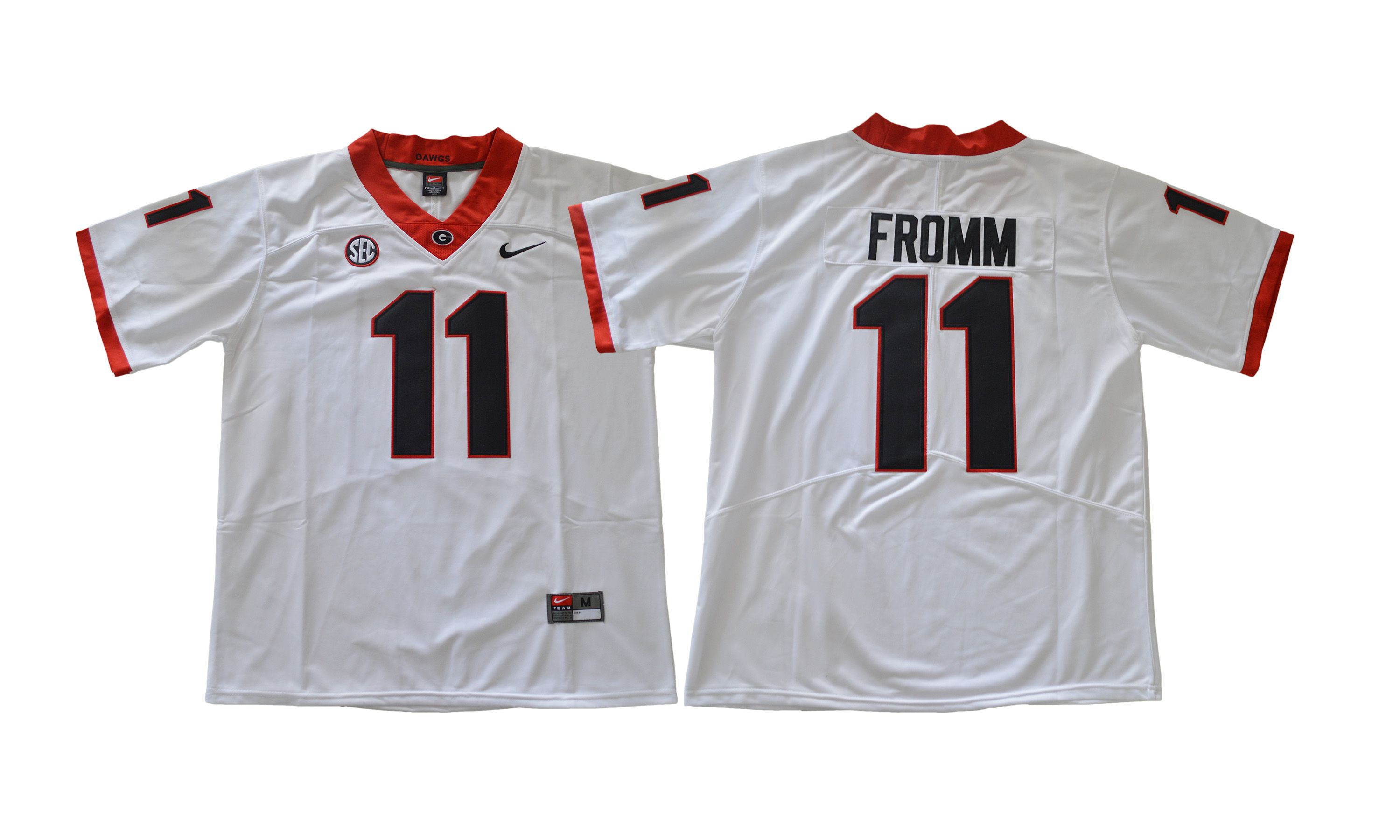 Men NCAA 2017 Georgia Bulldogs 11 Jake Fromm white Jersey