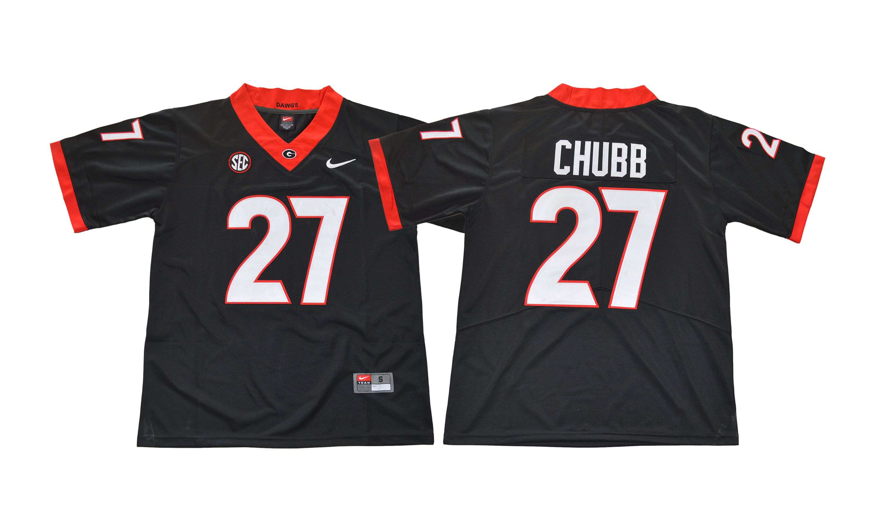 Men NCAA 2017 Georgia Bulldogs 27 Nick Chubb black Jersey