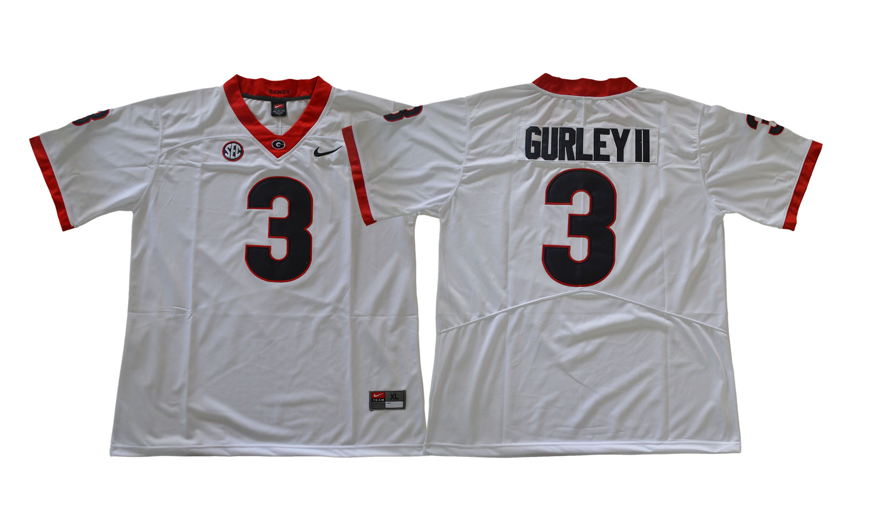Men NCAA 2017 Georgia Bulldogs 3 Gurleyii white jersey