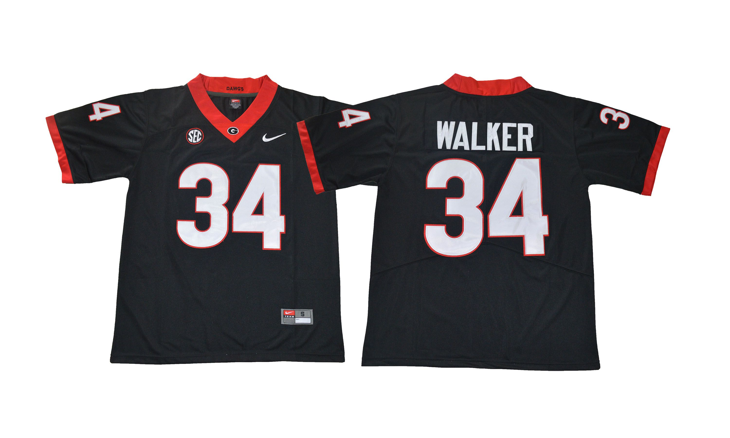 Men NCAA 2017 Georgia Bulldogs 34 Walker black jersey