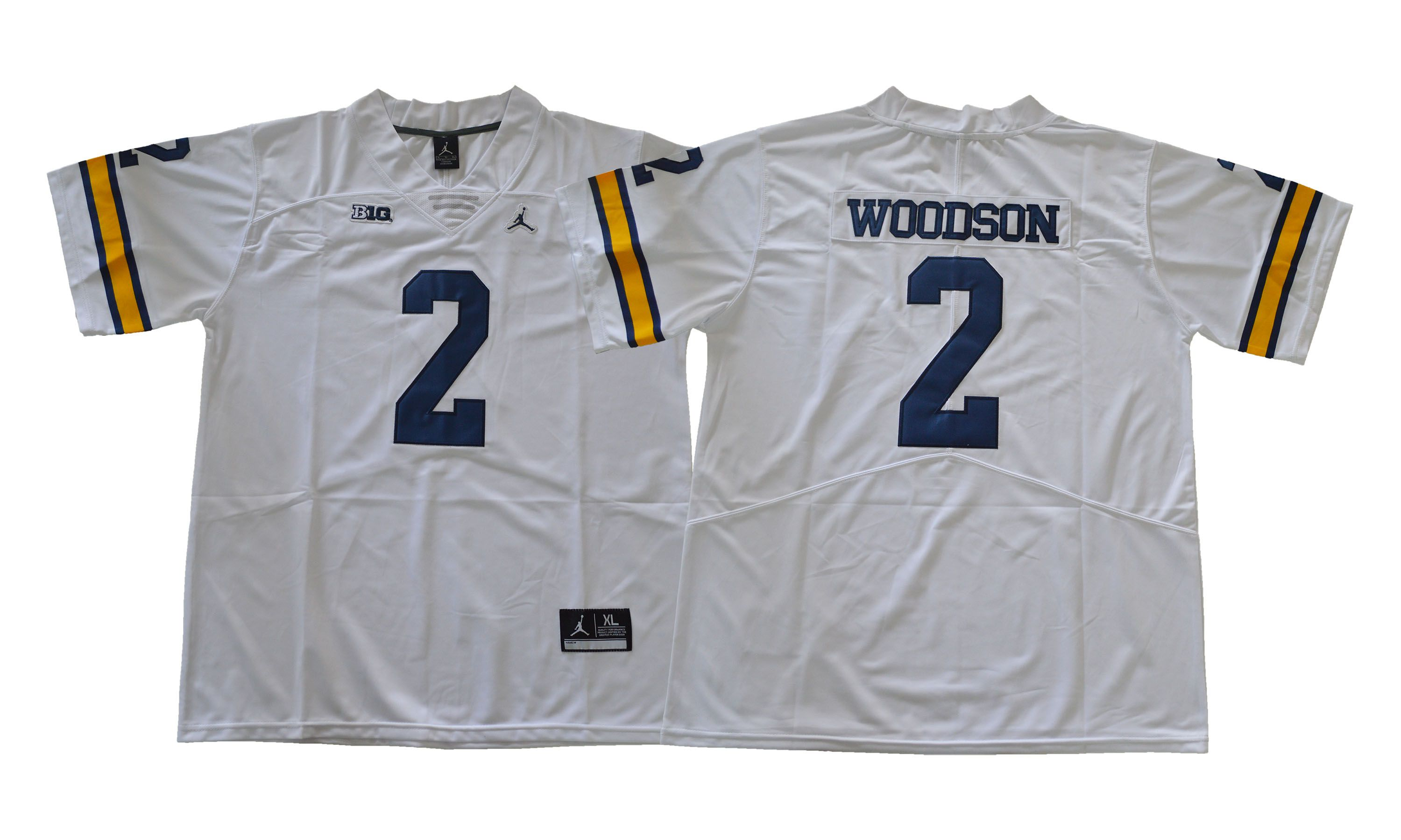 Men NCAA 2017 Michigan Wolverines 2 Woodson white jersey