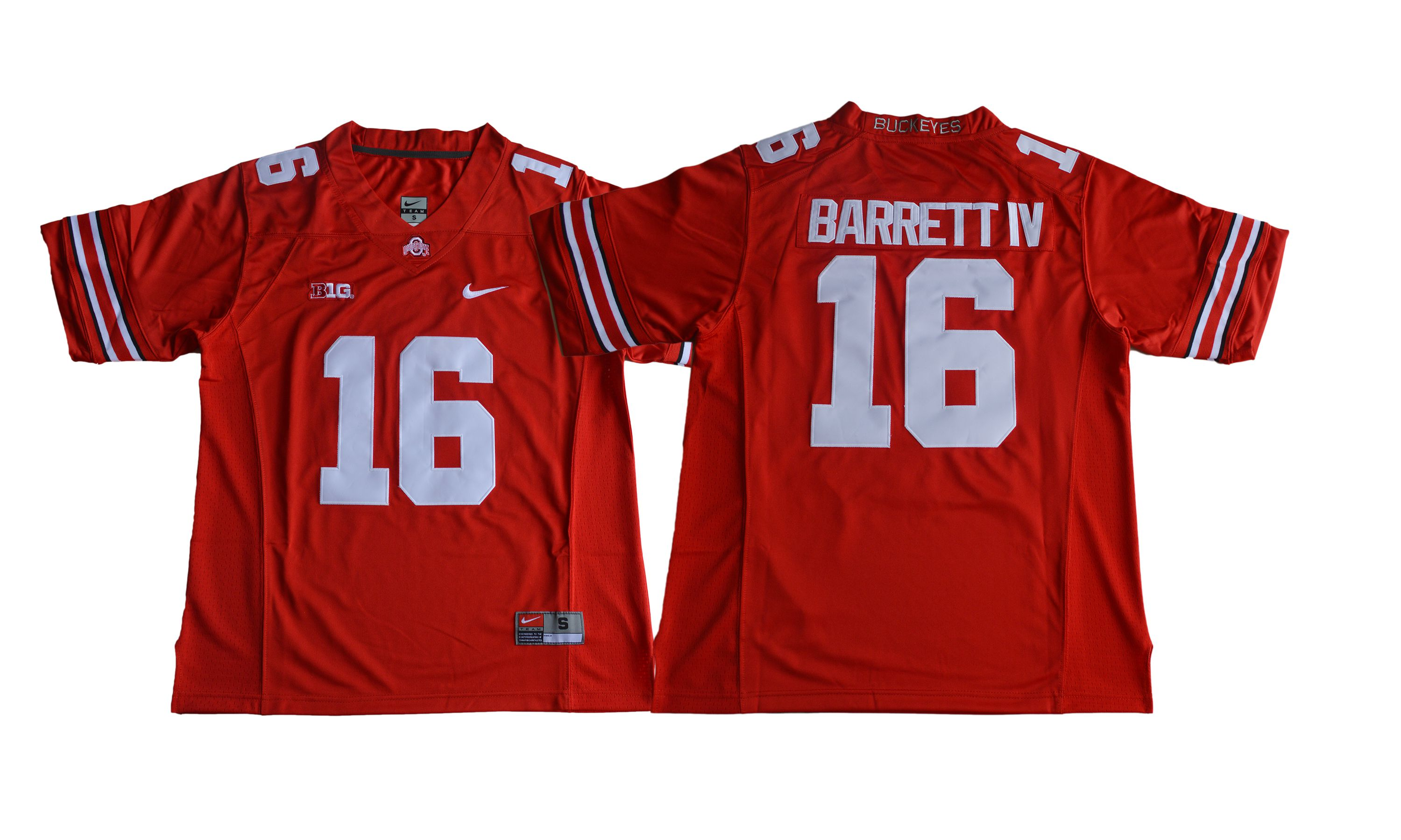 Men NCAA 2017 Ohio State Buckeyes 16 J.T. Barrett IV red jersey