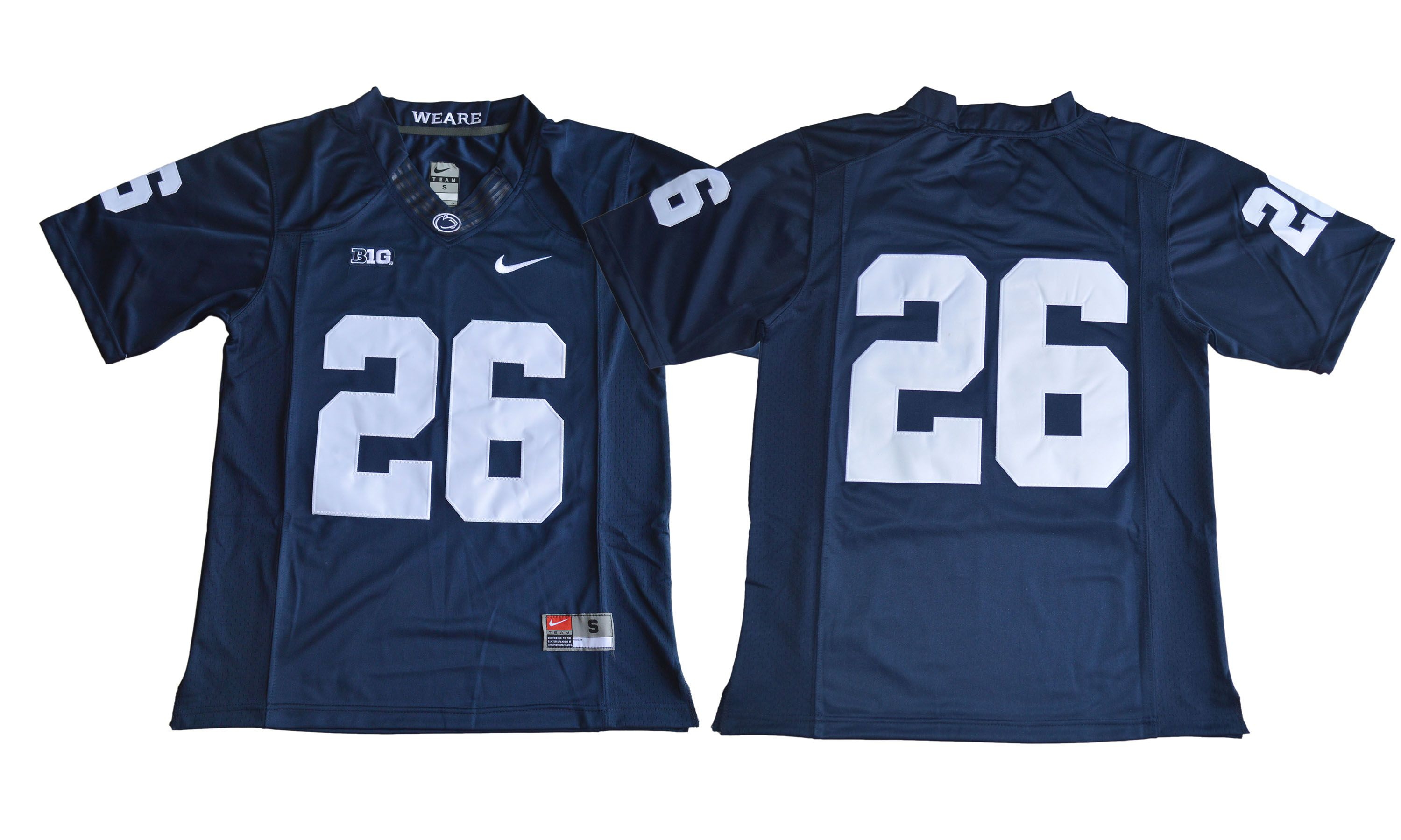 Men NCAA 2017 Penn State Nittany Lions 26 Saquon Barkley blue jersey