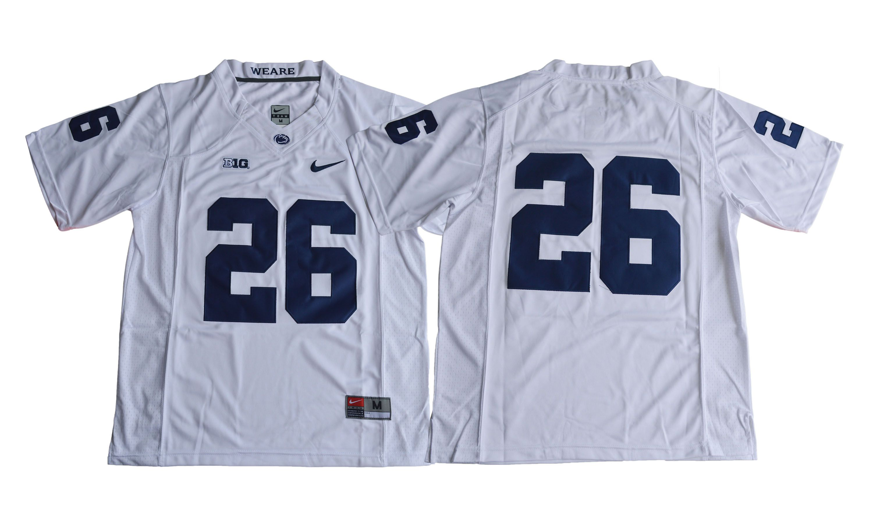 Men NCAA 2017 Penn State Nittany Lions 26 Saquon Barkley white jersey
