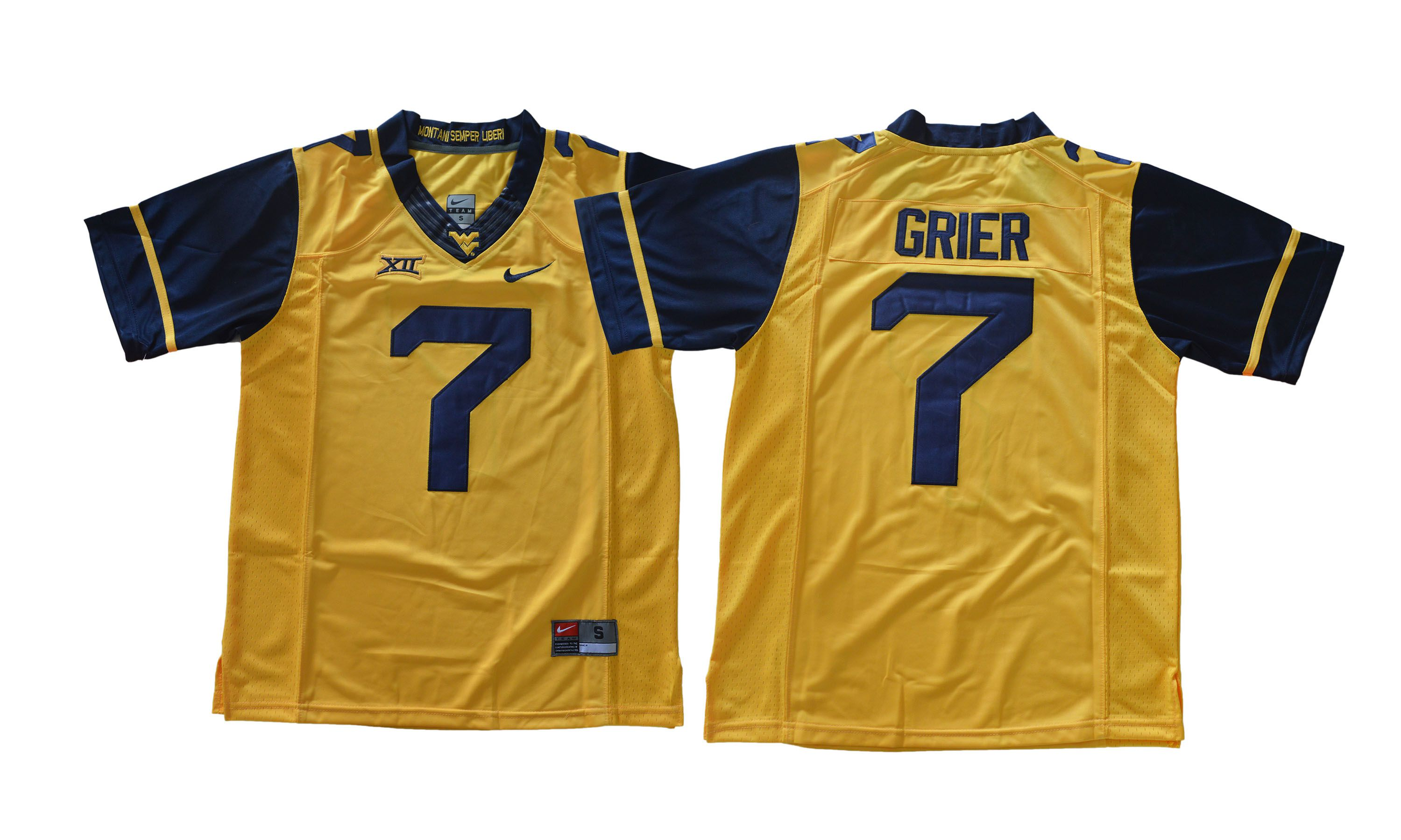 Men NCAA 2017 West Virginia Mountaineers 7 Will Grier Gold jersey