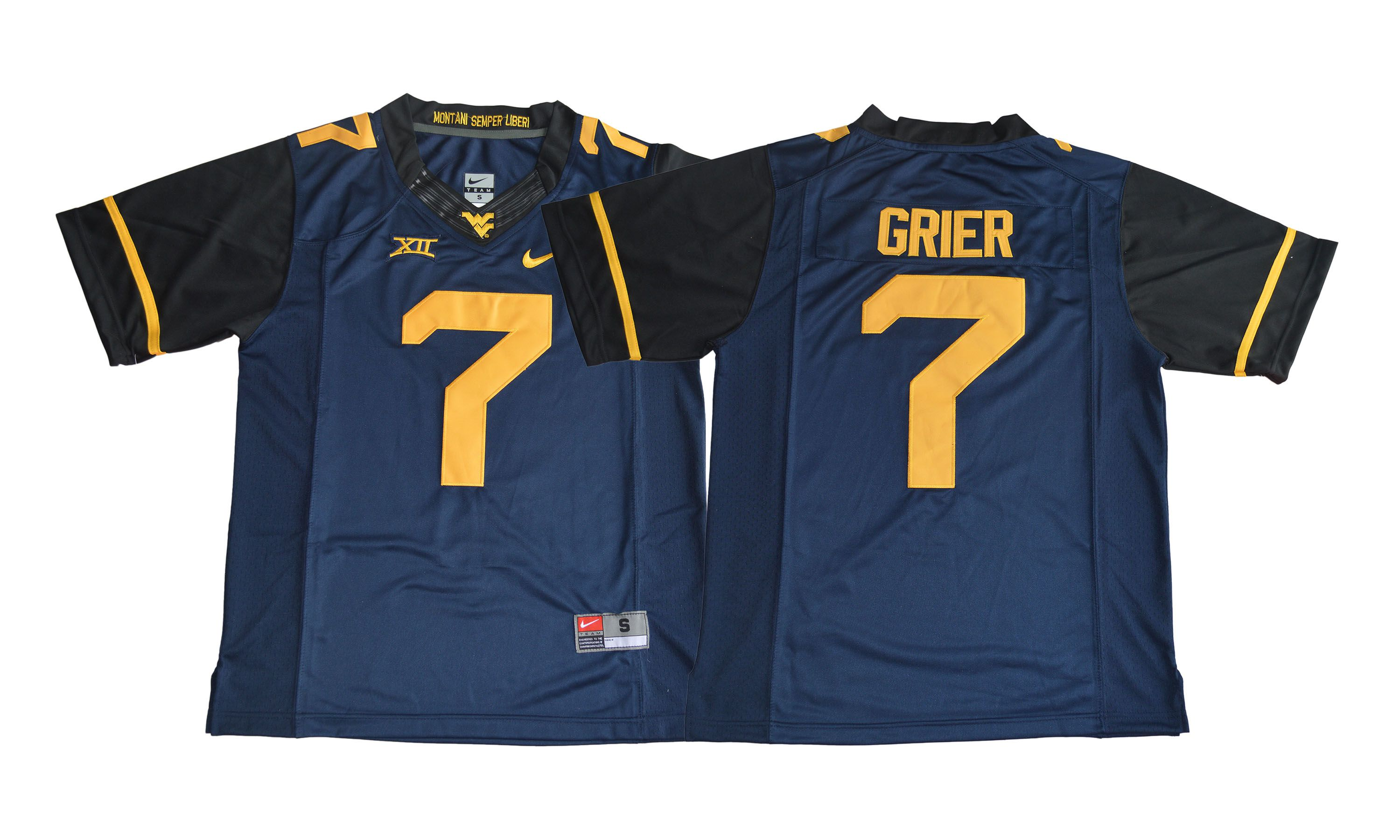 Men NCAA 2017 West Virginia Mountaineers 7 Will Grier navy blue Jersey