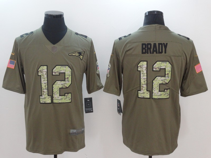 Men New England Patriots 12 Brady Camo Nike Olive Salute To Service Limited NFL Jerseys