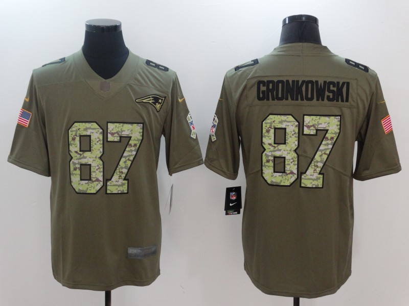 Men New England Patriots 87 Gronkowski Camo Nike Olive Salute To Service Limited NFL Jerseys