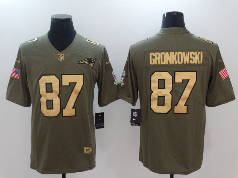 Men New England Patriots 87 Gronkowski Gold Anthracite Salute To Service Nike NFL Limited Jersey